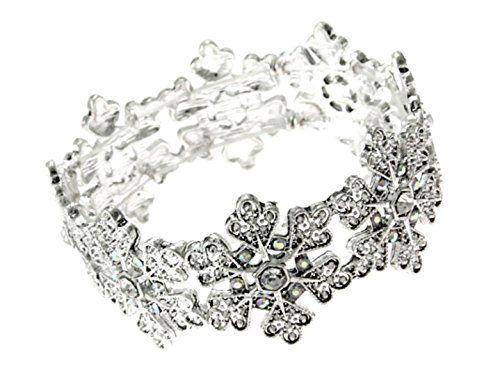 Snowflake Stretch Bracelet Z12 Crystal Silver Tone Bangle... www.amazon.com/...