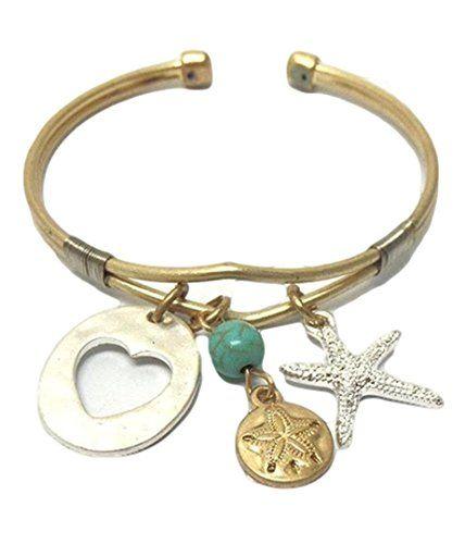 Starfish Heart Bracelet C05 Sand Dollar Charm Cuff Turquo... www.amazon.com/...