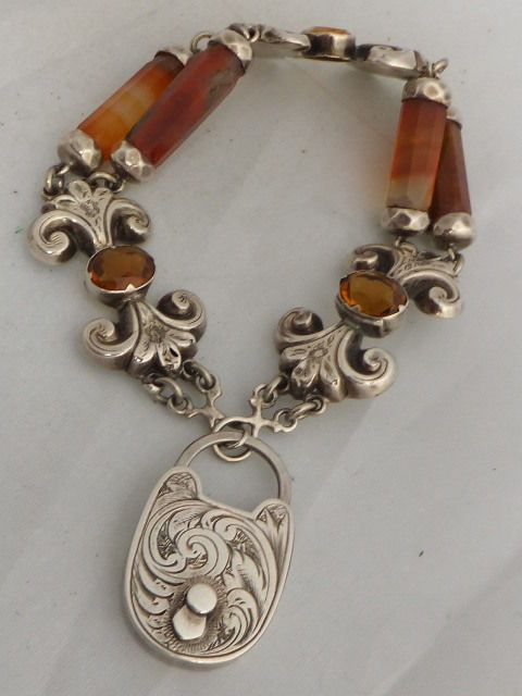 Stunning heavy Scottish silver Agate and Citrine bracelet