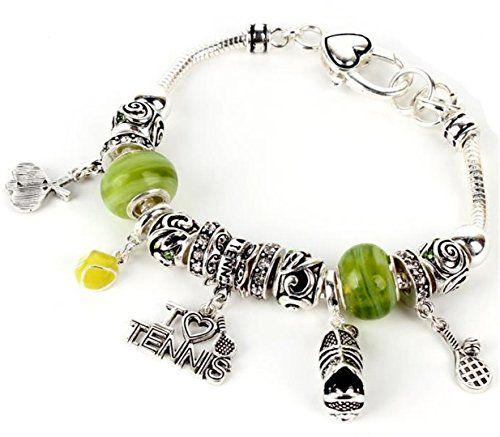 Tennis Charm Bracelet C25 Green Murano Beads Clear Crysta... www.amazon.com/...