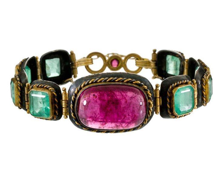Women's Fashion Jewelry Judy Geib Pink Tourmaline And Light Emerald Bracelet