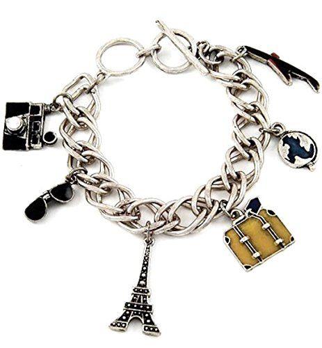 Travel Charm Bracelet BE Eiffel Tower Plane Camera Suitca... www.amazon.com/...