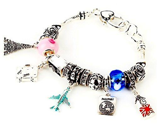 Travel Charm Bracelet Z1 Murano Clear Crystal Silver Tone... www.amazon.com/...