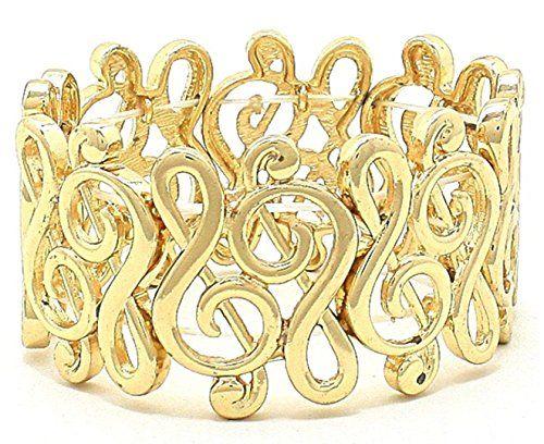 Treble Clef Bracelet Music Wide C13 Stretch Gold Tone Rec... www.amazon.com/...