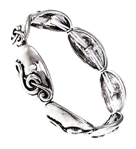Treble Clef Bracelet Music Wide H6 Stretch Burnish Silver... www.amazon.com/...