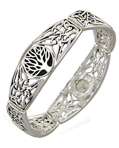 Tree of Life Bracelet Z3 Stretch Silver Tone on Black Rec... www.amazon.com/...
