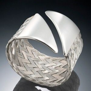 Angled Cuff by Barbara Silverstein. Braided stainless steel