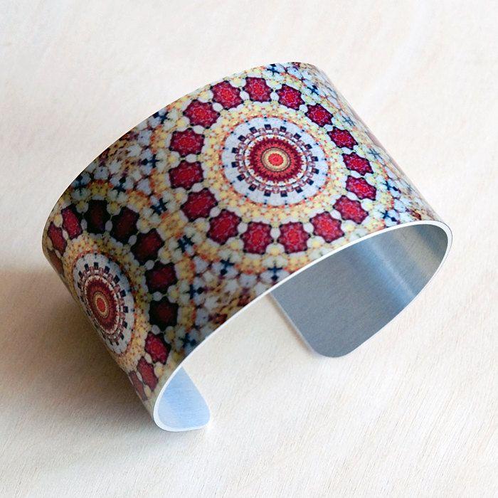 Autumn Mandala Aluminum Cuff Bracelet by CarrStudio on Etsy, $30.00