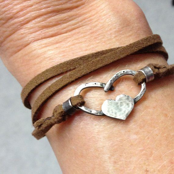 Horse shoe heart bracelet sterling silver hand by JoLovesJewelry, $36.00