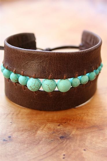 I am in love with the trend of incorporating bits of leather into jewelry. I esp...