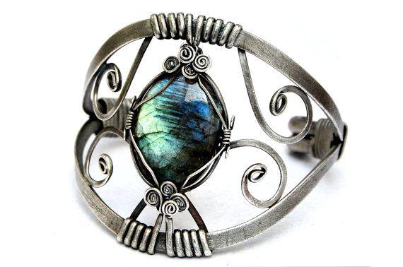 Labradorite Bracelet  Cuff Bracelet  Wire Wrap by HyppieChic