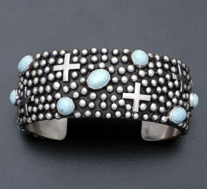 Ronnie Willie - Dry Creek Turquoise & Sterling Silver Beaded Four Corners Cuff B...
