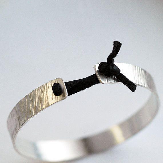 Silver Cuff Bracelet Tied with Repurposed Leather - Bangle Bracelet - EcoFriendl...