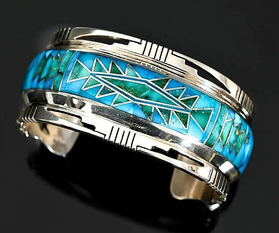 Sterling silver Candelaria turquoise rug pattern inlay bracelet by Jerry T Nelso...