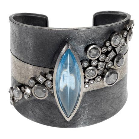 Todd Reed Palladium and Silver, Aquamarine and diamond bracelet