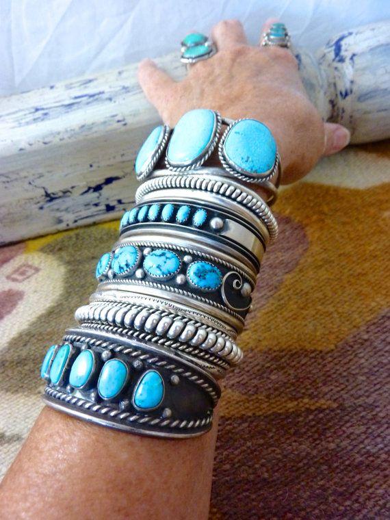 Vintage Navajo Sterling Silver Cuff Bracelets