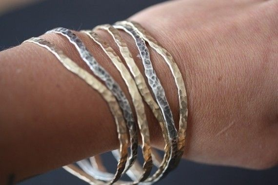 hammered mixed metal bangles by lexluxe