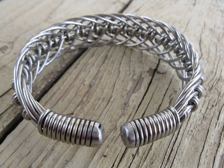 men's stainless steel hand bent wire woven wide cuff bracelet. $50.00, via E...
