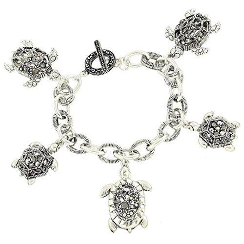 Turtle Charm Bracelet C57 Gray Crystal Marcasite Look Rec... www.amazon.com/...