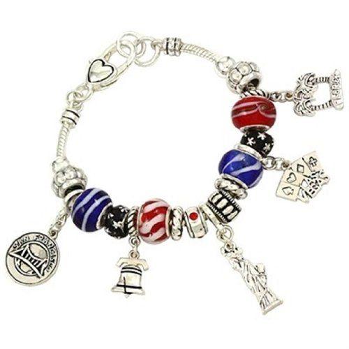 USA Theme Charm Bracelet Z9 Red White Blue Murano Bead Re... www.amazon.com/...