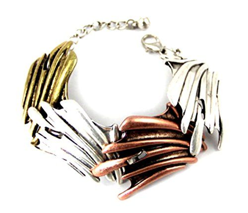 Unique Cuff Bracelet D13 Link Gold Copper Silver Tone Sta... www.amazon.com/...