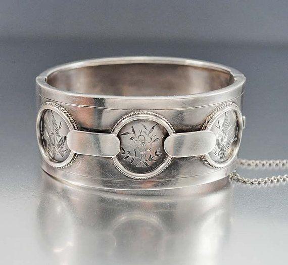 Victorian Bangle Bracelet Sterling Silver English by boylerpf