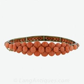 Victorian Button Coral Bangle Bracelet Main View