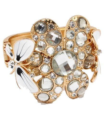 Wide Crystal Hinged Bracelet D4 Bangle Cuff Butterfly Flo... www.amazon.com/...