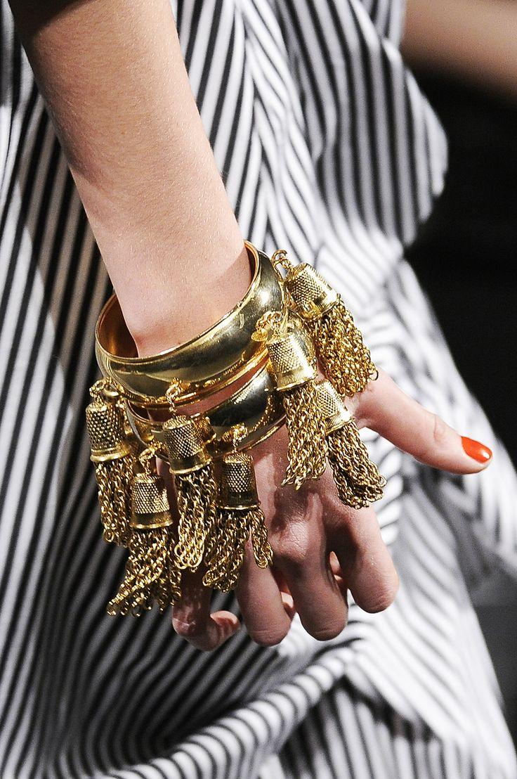 gold, thimble bracelet