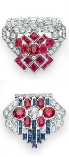 A GROUP OF ART DECO DIAMOND, RUBY AND SAPPHIRE CLIP BROOCHES  Comprising two cli...