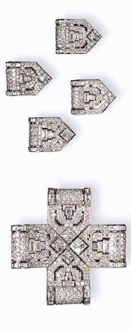 A RARE ART DECO DIAMOND CROSS BROOCH, BY CARTIER Of pierced openwork design, the...