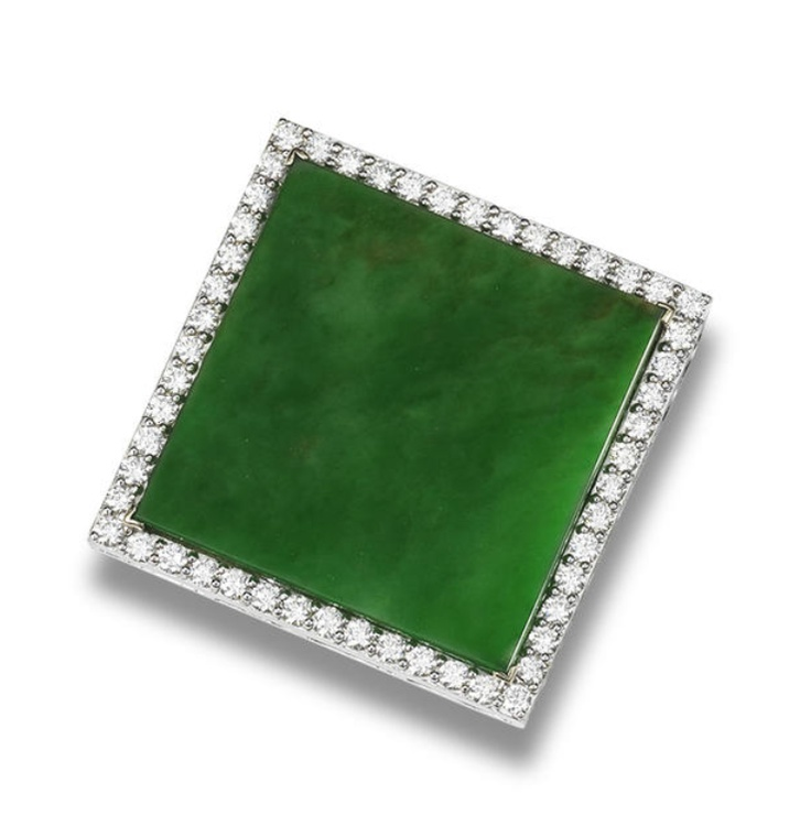 A jadeite and diamond pendant  The bright green square jadeite plaque of very go...