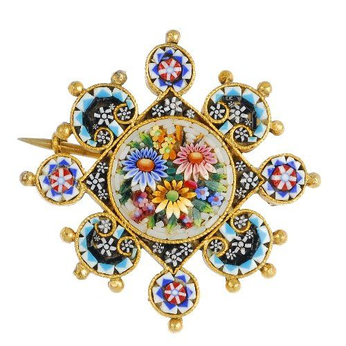 A late 19th century micro mosaic brooch, depicting flowers