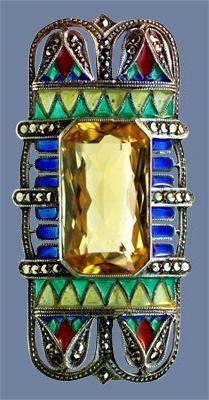 ART DECO Egyptian Revival Brooch 1925, Egyptian Revival Brooch Silver, citrine, ...