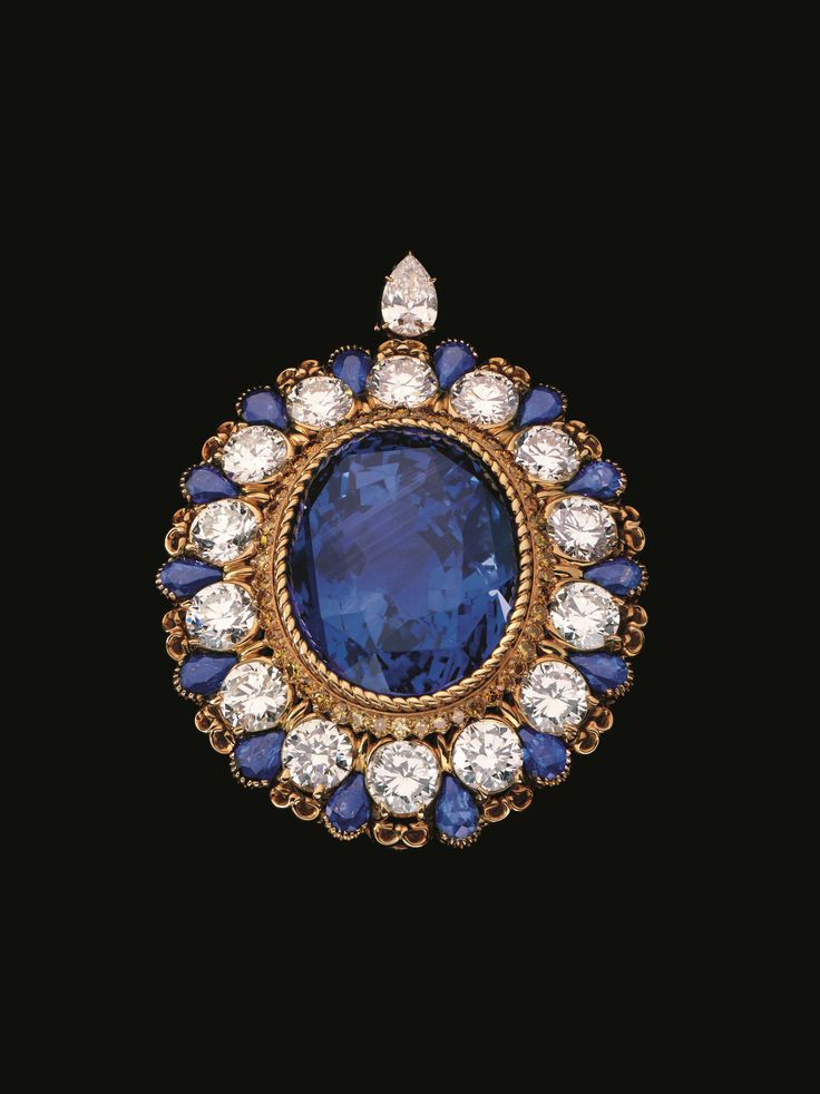 Alexandre Reza untreated Ceylon sapphire brooch featuring a 134 ct. large oval s...