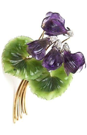 An 18 Karat Yellow Gold, Diamond, Carved Amethyst and Carved Jade Flower Br