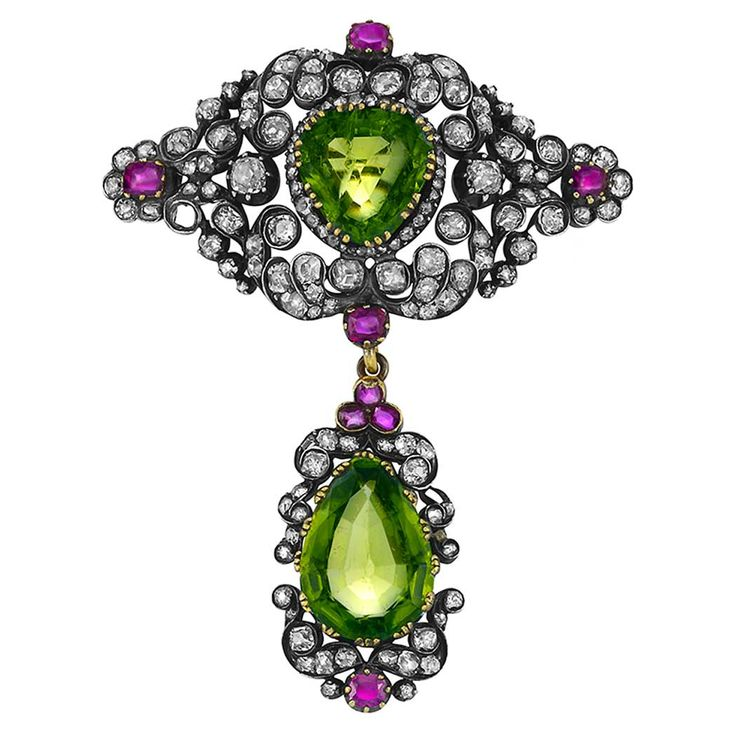 Antique Diamond, Ruby and Peridot Brooch