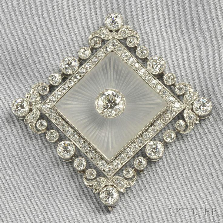 Art Deco Platinum, Rock Crystal, and Diamond Pendant, Thomas Kirkpatrick & Co.  ...