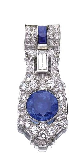 Art Deco circular-cut sapphire decorated with baguette, single- and circular-cut...