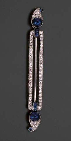 Art Deco. Sapphire and Diamond Brooch, Cartier, c1925.