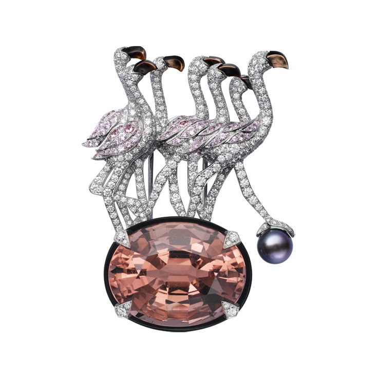 BROOCH  Platinum, morganite, natural pearl, onyx, pink sapphires, mother-of-pear...
