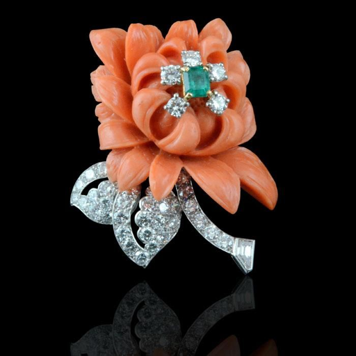 CARTIER ,CARTIER, Paris Retro c.1950s Carved coral chrysanthemum and diamond, em...