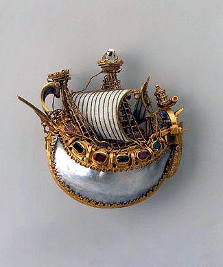 Caravel pendant    Late 16th century, Italian  Gold, rubies, emeralds, pearls an...