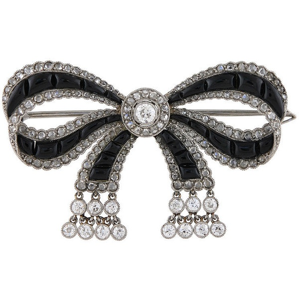 Cartier - CARTIER Edwardian Diamond Onyx Bow-Knot Brooch.