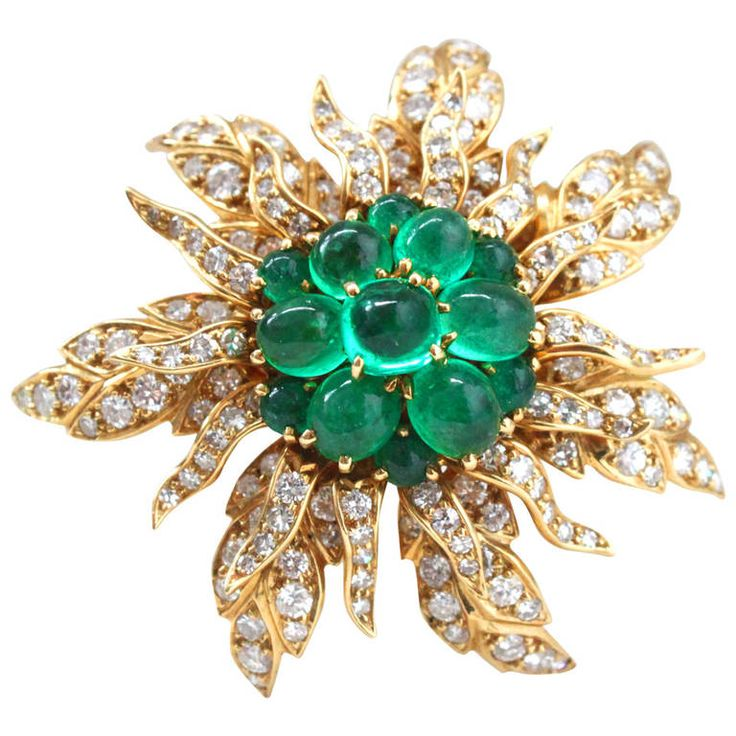 Cartier Emerald and Diamond Flower Brooch 1950s. A yellow gold emerald cabochon ...