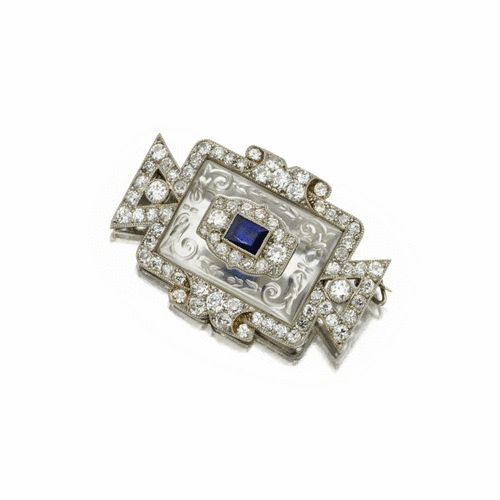 Carved rock crystal, sapphire and diamond brooch, Cartier, circa 1920 | Lot | So...