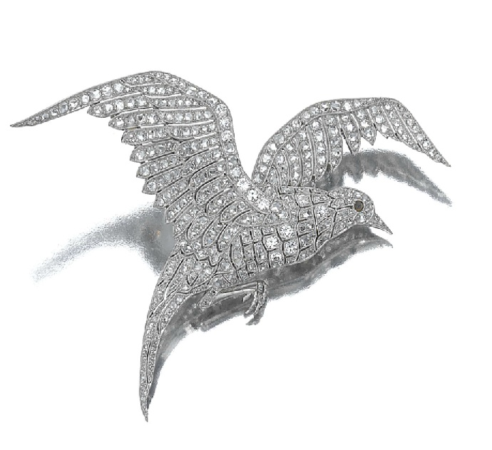 Diamondbrooch 'Mouette', Van Cleef & Arpels, circa 1926. Designed as a b...