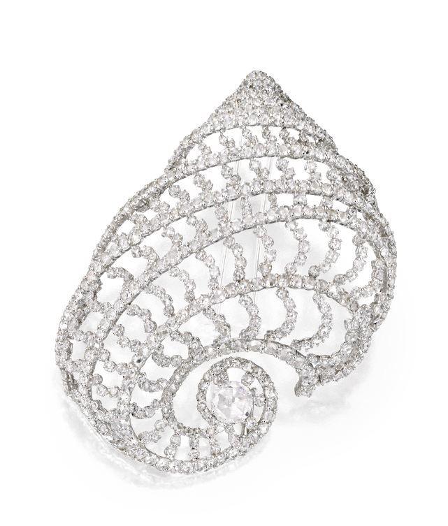 18 Karat White Gold and Diamond Brooch