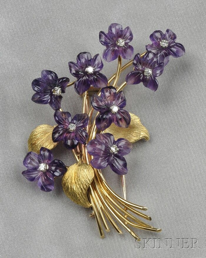 18kt Gold, Carved Amethyst, and Diamond Brooch, France