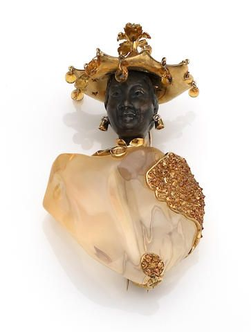 A fire opal and orange sapphire blackamoor brooch, Nardi, Italy